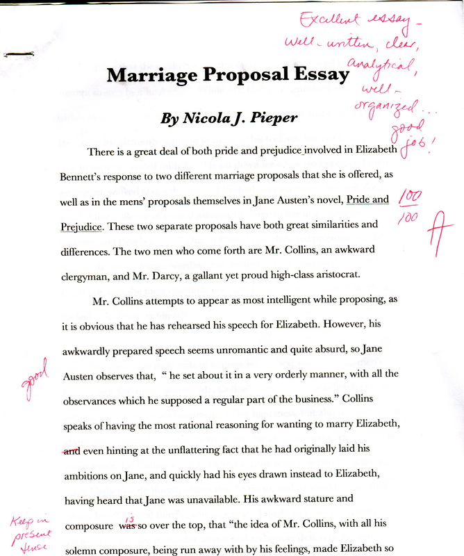 Marriage Proposal Essay - Nicola's Portfolio